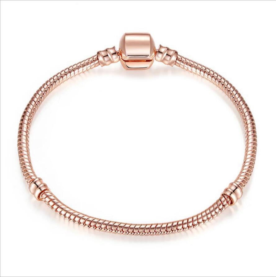 Vente rose gold serpent chaîne bracelets couleur fit fit style perles de style européen en gros porcelaine usine directe