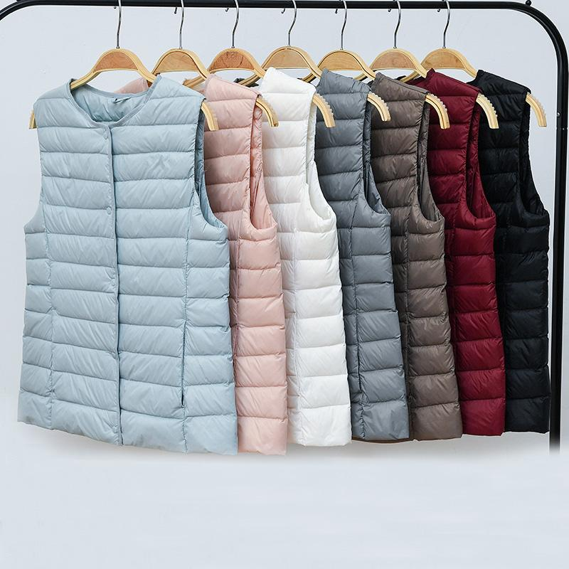Nueva moda mujer abrigo sin mangas otoño invierno ultraligero blanco pato abajo chaleco cálido chaleco delgado chaqueta de las señoras SF1453