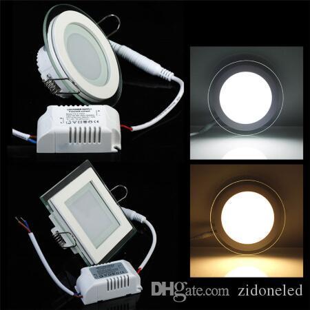 Dimmable LED en verre panneau lumineux à encastrer SMD 5730 lampe de plafond 6W / 12W / 18W cool blanc chaud LED d'éclairage