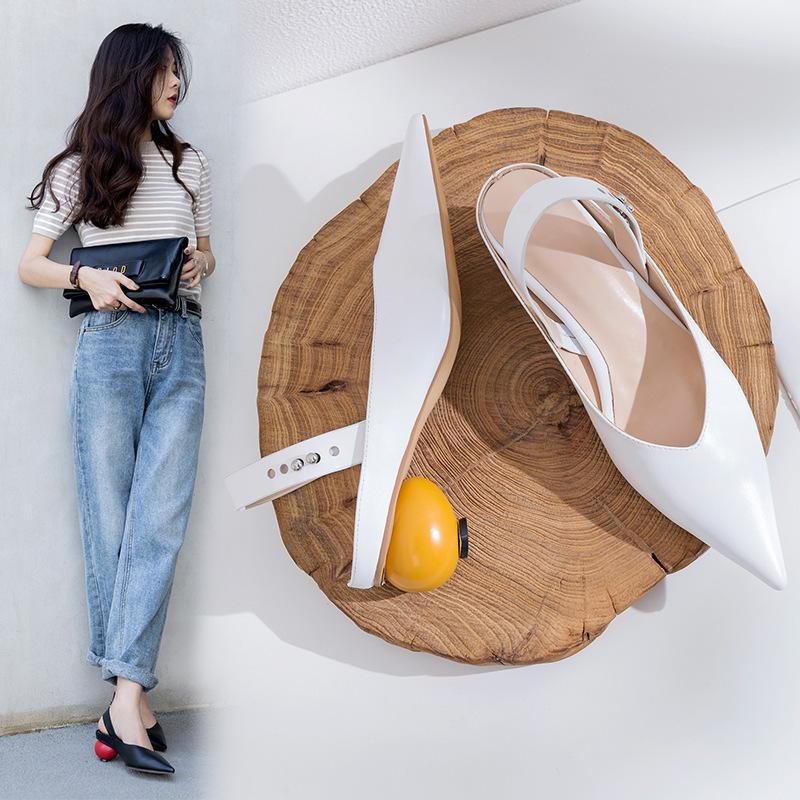 Pop2019 Leather Genuine 19 Sandals Woman Wind V Heterotypic With Joker Solid Color Tide Women's Shoes