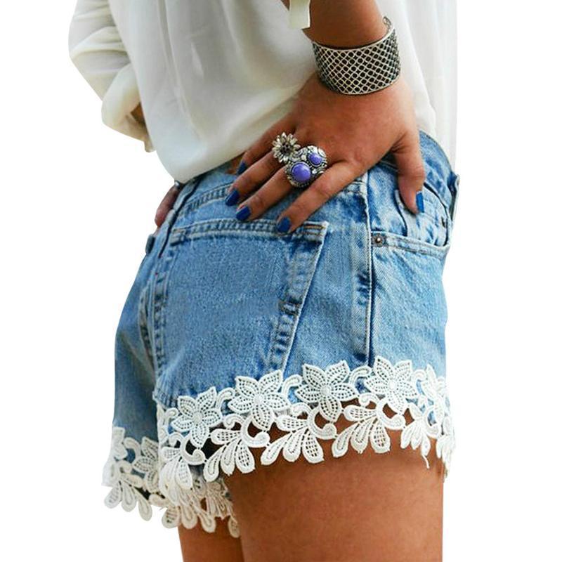 Feminino jeans flor lace denim shorts calças sexy mulheres curtas azul largo vintage cintura alta cintura senhoras