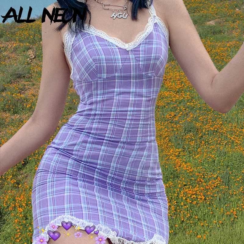 Allneon E-Kız Ekose Halter V Yaka Dantel Hem Mini Elbise Y2K Moda Tatlı Spagetti Kayışı Backless Yaz Elbise Streetwear Partisi