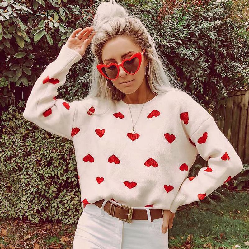 Lossky 뜨개질 스웨터 여성 가을 겨울 꾸미 긴 소매 느슨한 레드 풀오버 심장은 의류 2,019 레저 T200101 인쇄 탑