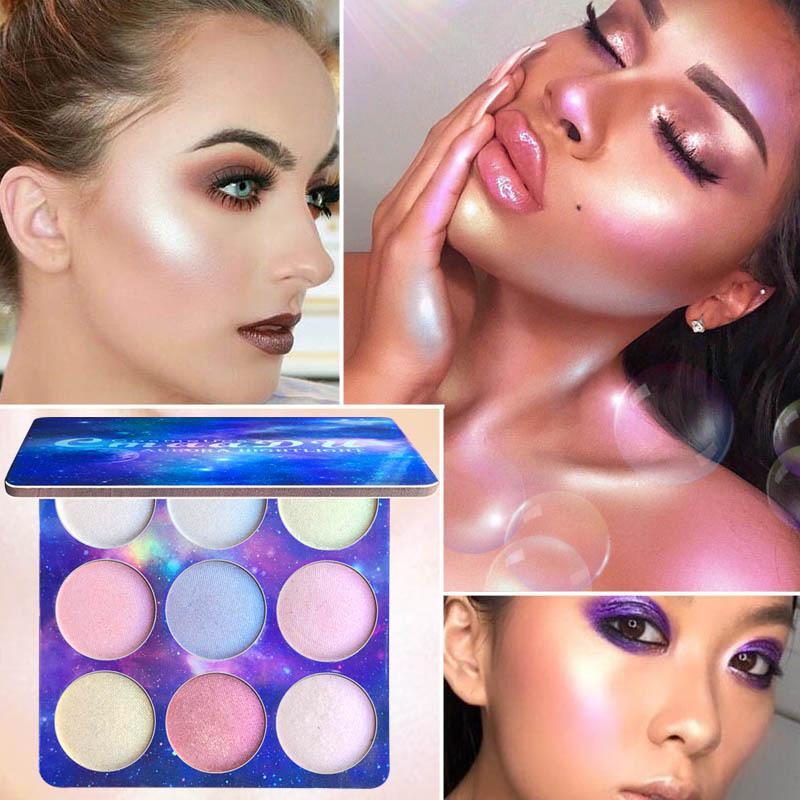 CmaaDu 9 ألوان ظلال العيون لوحة ماكياج الوجه كفاف بريق الطبيعية وميض عينيه لوحة تمييز الوجه