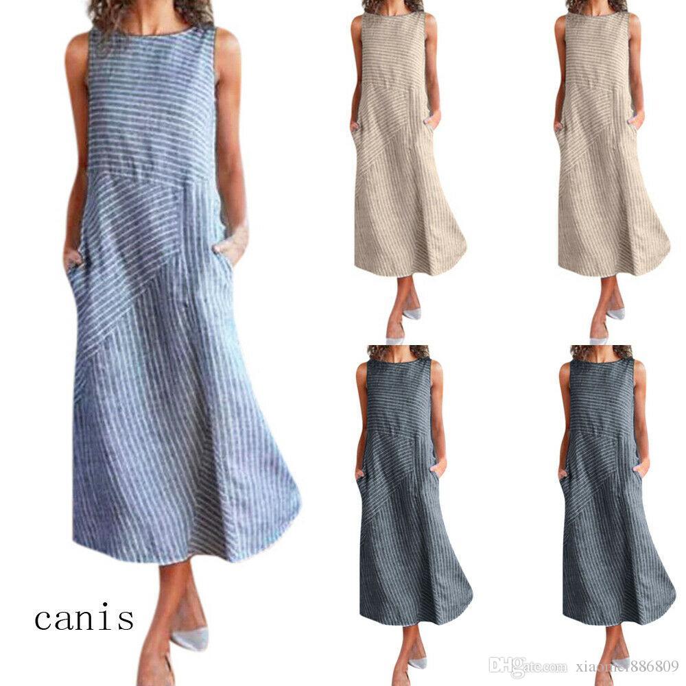 US Mujer Boho O-cuello de lino Maxi vestido sin mangas ocasional Kaftan túnica más el tamaño