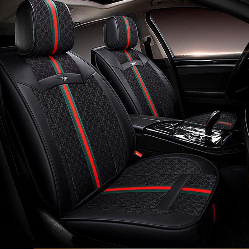 مقعد يغطي وندا العلامة التجارية التطريز 1SET العالمي للسيارات تناسب معظم السيارات يغطي زينة الداخلية حامي السيارات-التصميم (أسود / رمادي)