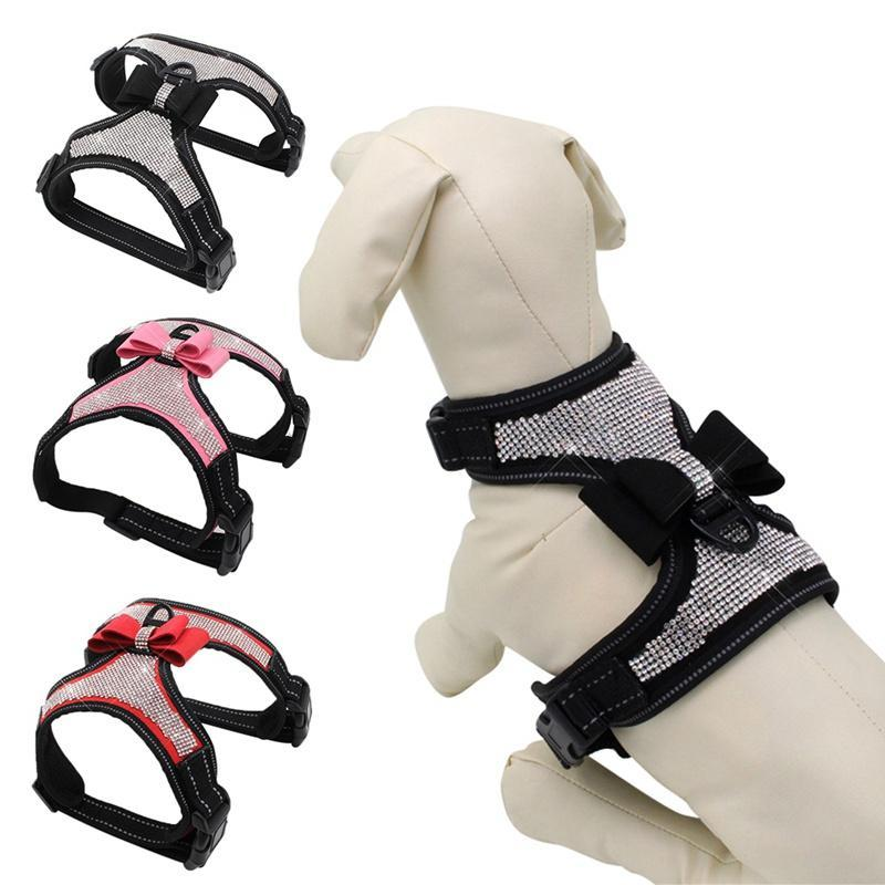 Adjustable Puppy Bow Harness Bling rhinestone Pet Puppy Dog Harness Pet Dogs Safe Travel Supplies For Small Medium Large Dogs