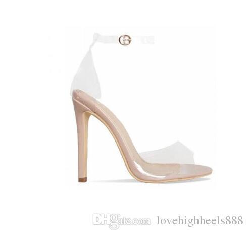 Giallo arancio chiaro PVC tacchi a spillo donna sandali cinturino alla caviglia fibbia donne pompe spuntate spuntate scarpe con tacco alto