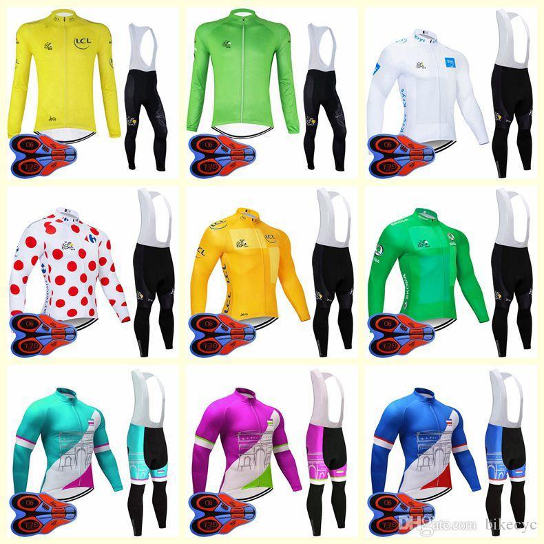 Tour de France Takımı Bisiklet Uzun Kollu Jersey Önlüğü Pantolon Setleri Ince Ropa Ciclismo Moda Hızlı Kuru MTB Bisiklet Giysileri Erkekler U82833