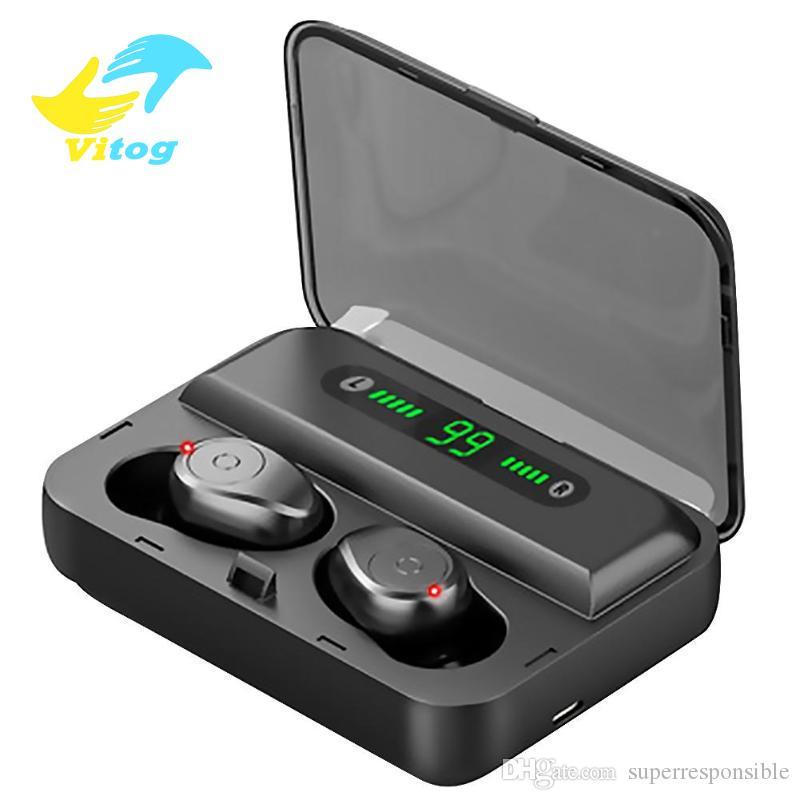 LED Ekran 1200mAh Güç Bankası Kulaklık ve mikrofonlu ile Vitog F9-5 TWS Kulaklıklar Bluetooth v5.0 Kablosuz Kulaklık Mini Akıllı dokunmak Kulaklık
