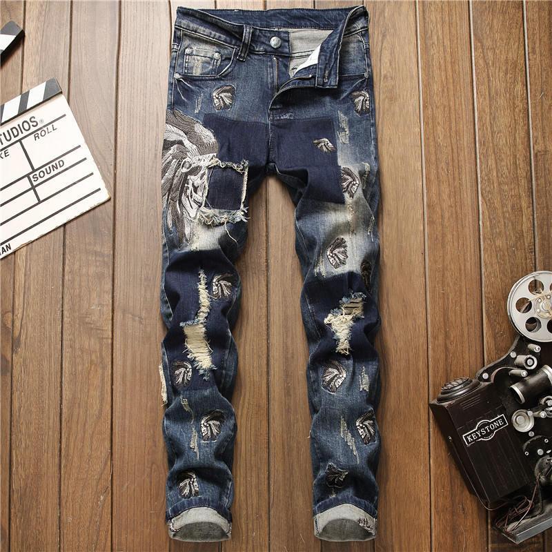 Uomo Jeans progettista casuale di nuovo modo Skinny candeggiati sostanza solida lavata a lungo con Cerniera pantaloni della matita Miscela del cotone Dimensione Brand Jeans