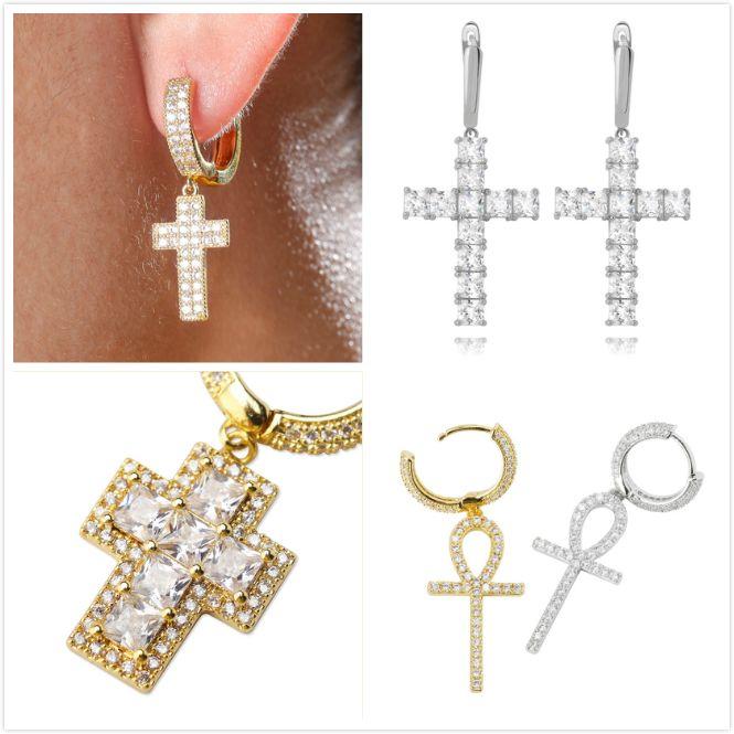 Personalized 18K Gold Plated Bling Cubic Zirconia Cross Hoop Earring Mens Womens Hip Hop Earrings Iced Out Diamond Jewelry for Women Men