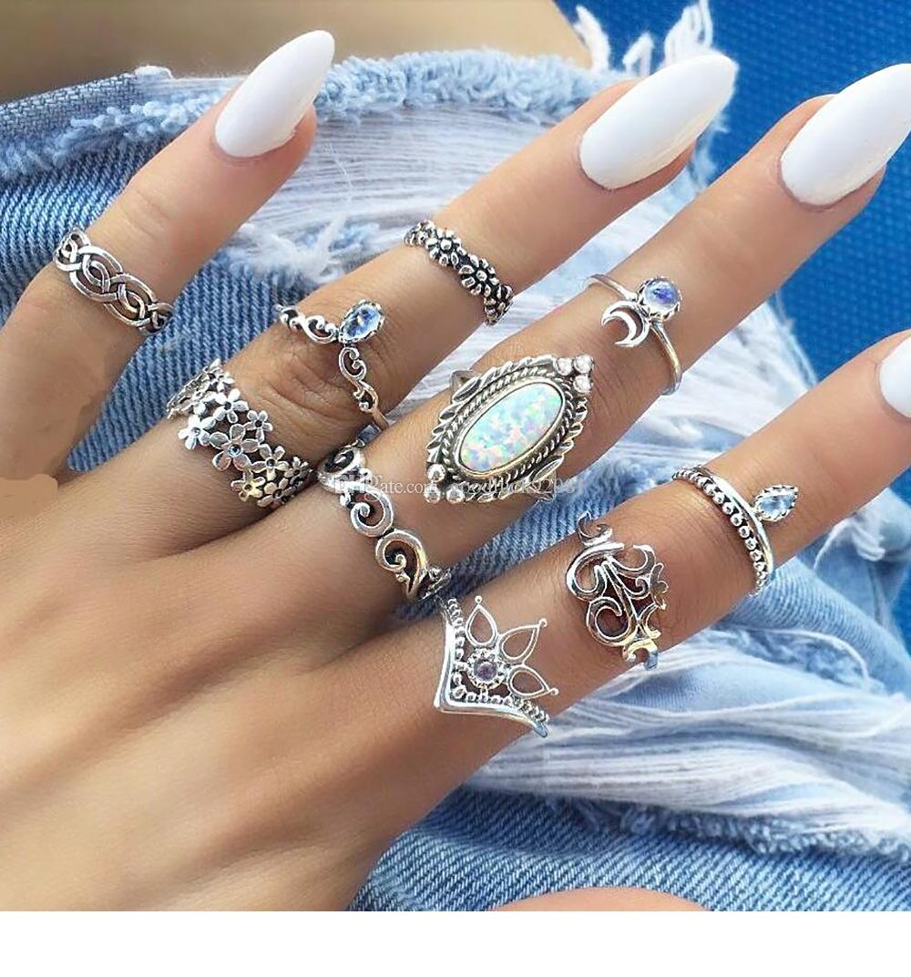 10pcs / set bague opale antique argent fleur couronne lune bague ensemble bague mixte combinaison combinaison femmes bijoux de mode