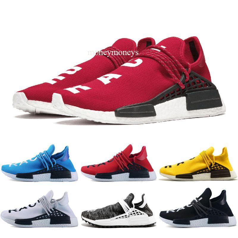 Adidas tennies hu 2019 Black Nerd race humaine classique NMD Hu Pharrell solaire pack orange Encre jaune Nobel Hommes Femmes Chaussures Sport Courir Sneaker hui