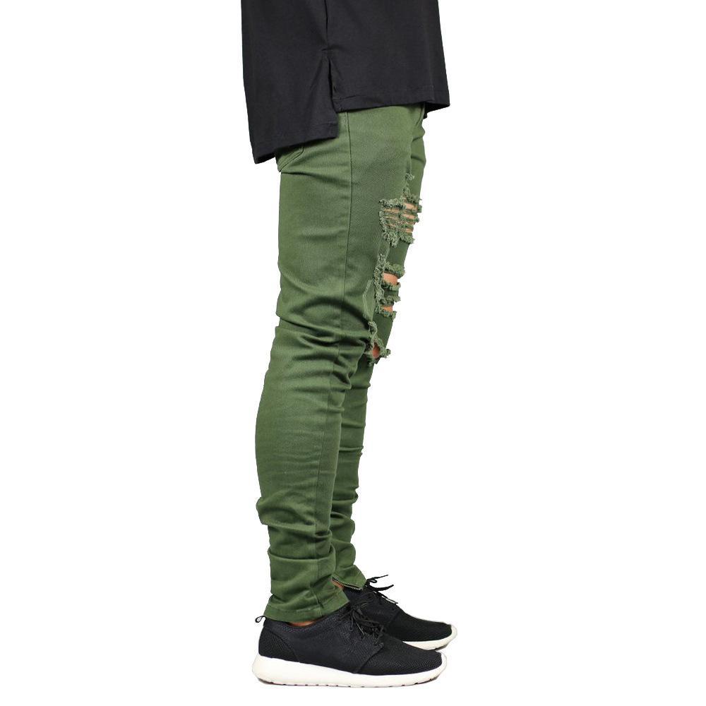 Vêtements pour hommes Designer Hombres Jeans Holes Ripped Pantalons Zipper Crayon rue Hiphop Skateboard Jean Pantalons
