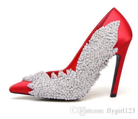 Tacchi di cuoio delle donne libere di trasporto, punta di cuoio del trivello di acqua sequined raso bocca superficiale sexy tacco alto, formato: 34-41, rosso