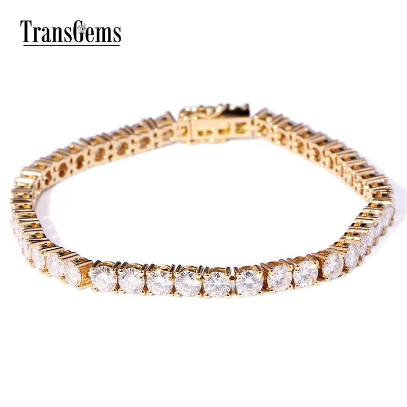 Transgems solide 14k or jaune 1.33 CTW 2.3mm Diamètre F Couleur Moissanite Tennis pour les femmes de mariage de bracelets à maillons C19032501