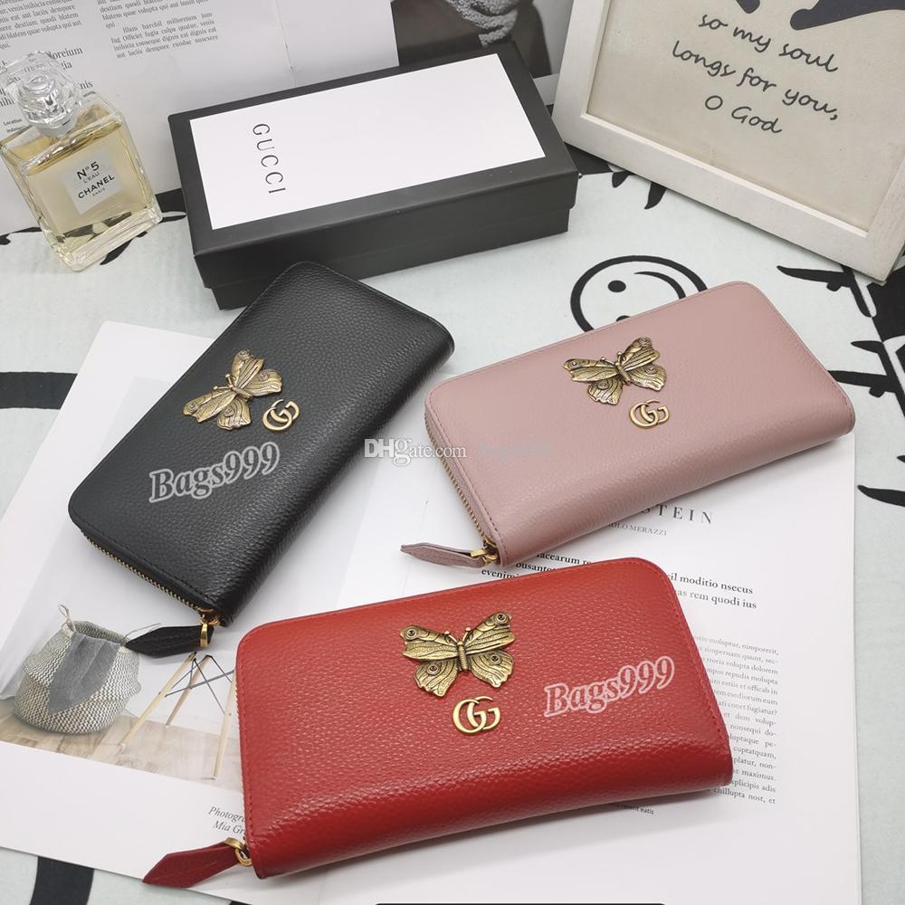 Le donne del progettista del cuoio genuino lungo frizione portafogli Multi-Card Holders dal design di lusso Borse Zipper Pockets banconote Ragazze Portafoglio del cinturino dell'orologio