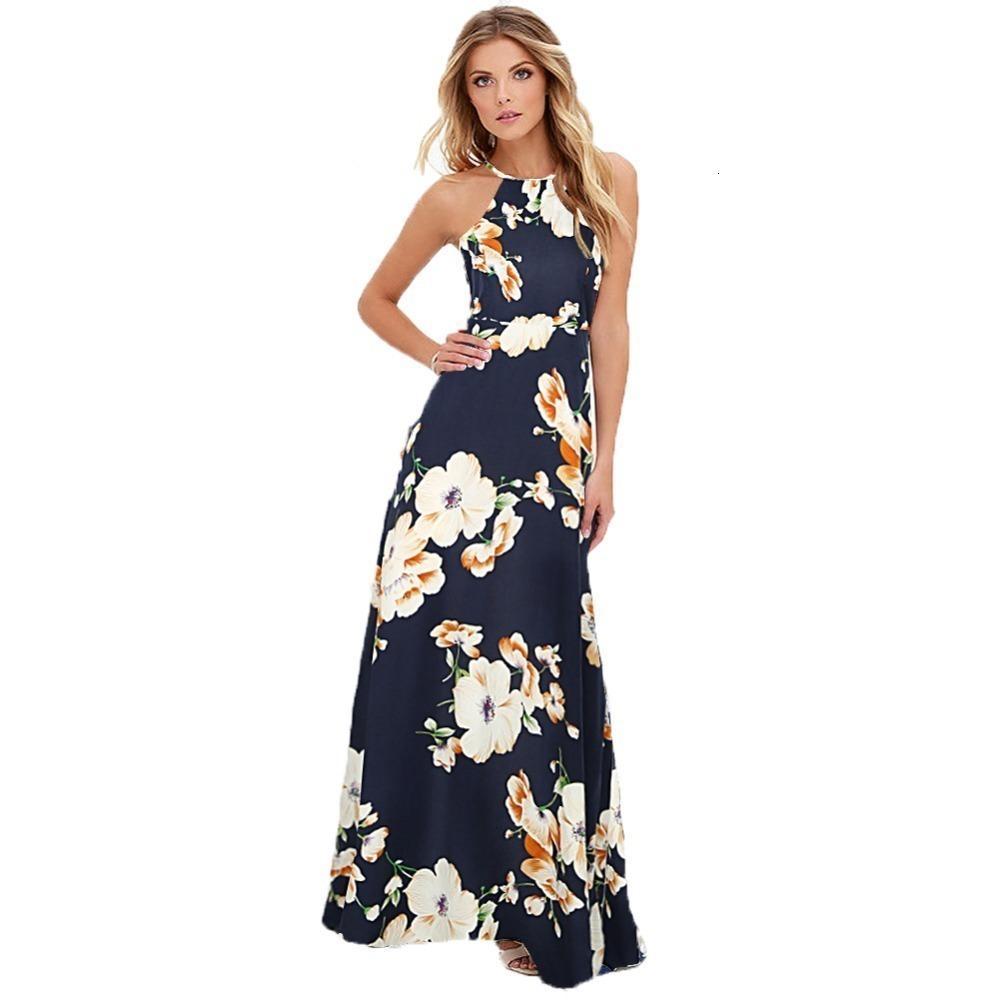 Дамы Платья Женская одежда Длинные платья макси Женщины Цветочные печати Boho платье плюс размер рукавов Beach Holiday скольжению Дизайнер одежды