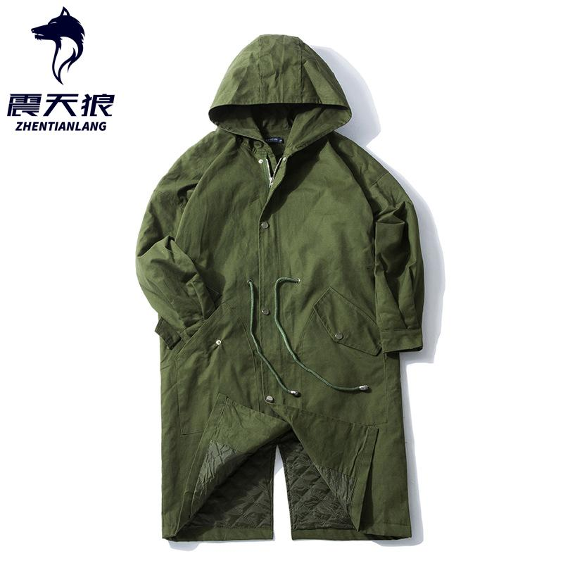 Men Army Green Long Style Hooded Trench Coat Waist Drawstring Japan Style 2020 Autumn thin thick Mens Loose Jacket Black