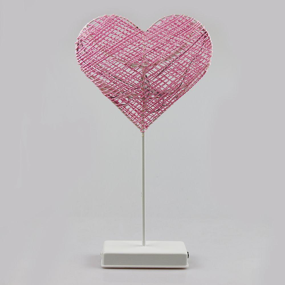 40CM Forma rosada del corazón hierba luz rota energía de batería ligera llevada de la noche niñas dormitorio decorativo regalo lámpara de mesa
