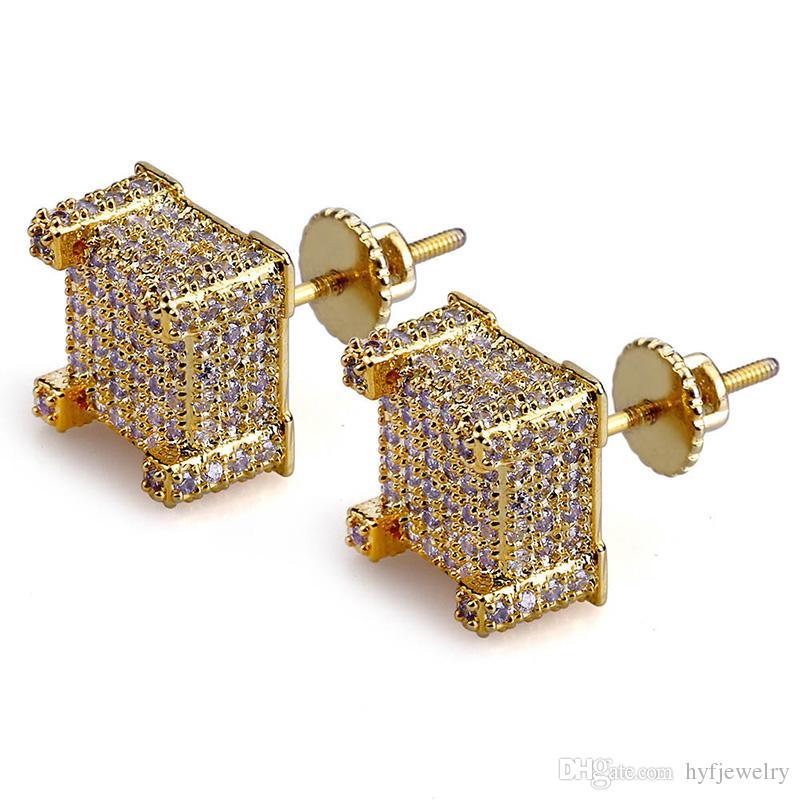 Hommes Hip Hop Boucles d'oreilles Bijoux Fashion New Or Argent Zircon Diamant Boucles d'oreilles carrées gros bijoux