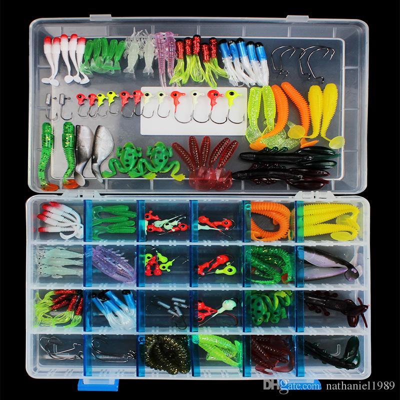 145pcs/set Fishing Lures + Lead Hooks Soft Baits Set Silicone Grub Worm Baits Swimbaits Fishing Tackle Wholesale