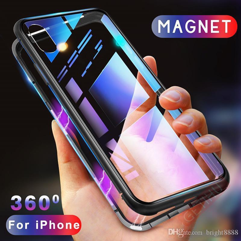 Для iPhone XS Max XR Магнитная Адсорбция Металлический Бампер Закаленное Стекло Задняя Крышка 30 шт.
