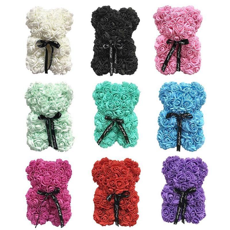 PE пена имитация Роза медведь кукла плюшевые куклы Вечный цветок подарочная коробка романтический день Святого Валентина украшения подарок на День Рождения 25 см