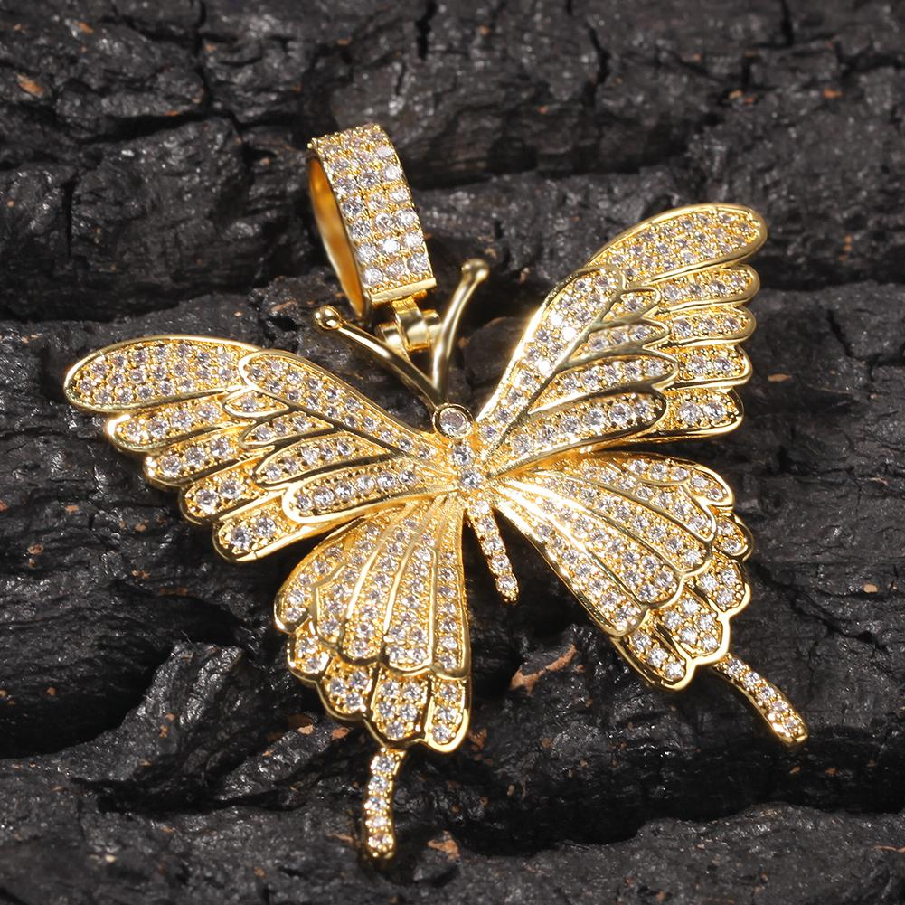 Iced Out Animal Pink Cubic Zircon Butterfly Pendant Necklace With Tennis Chain Gold Silver Rosegold Hiphop Rock Jewelry