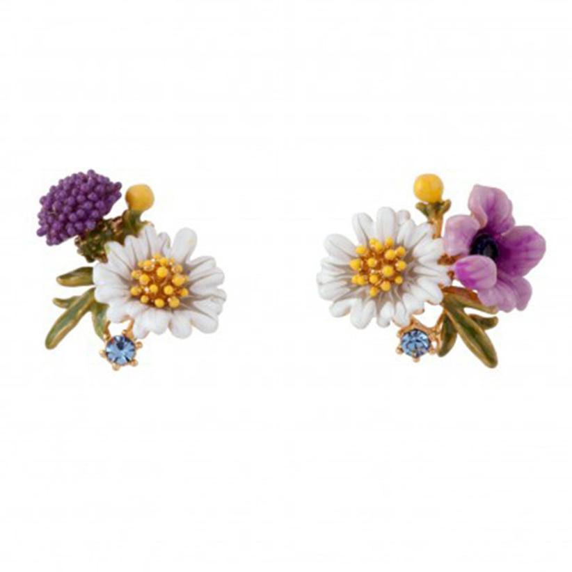 Juicy Grape New Pastoral Flower Serie Handgemachte Emaille White Daisy Ohrstecker 925 Silber Nadeln Ohrringe Modeschmuck T7190617