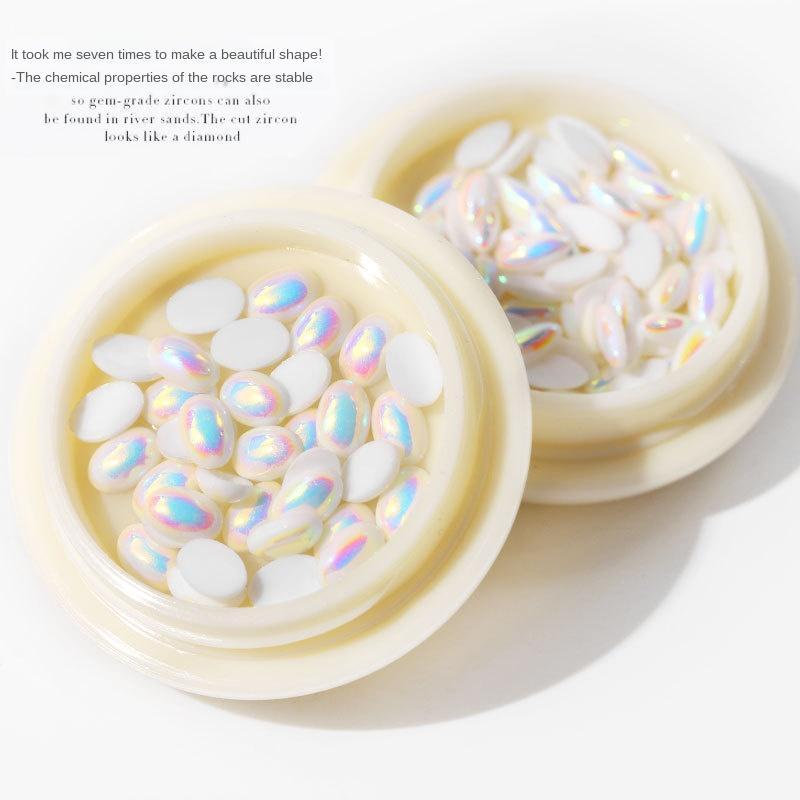 Transfronterizo Exclusivo clavo de la joyería Forma de diamante perla Revestimiento del AB plana semicircular de fondo plano no se desvanece blanco perla