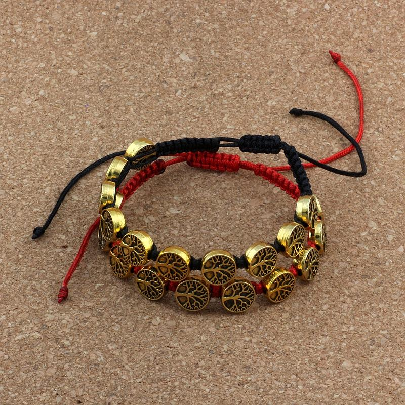 10pcs Antique gold Alloy Tree of Life charm Red /black Chinese knot line Pure hand-woven Adjustable Bracelet for men and women