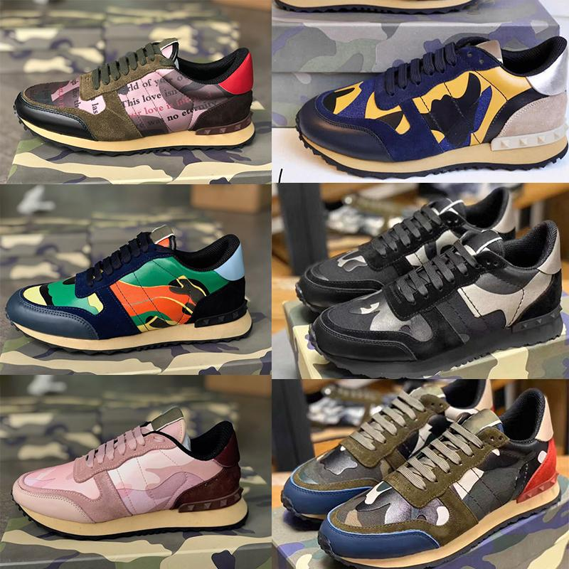 2020 Stud Rockrunner Camouflage Trainers Mesh Real Leather Combo Rock Runner Sneakers for Men Women Rubber Sole Shoes Chaussures with Box