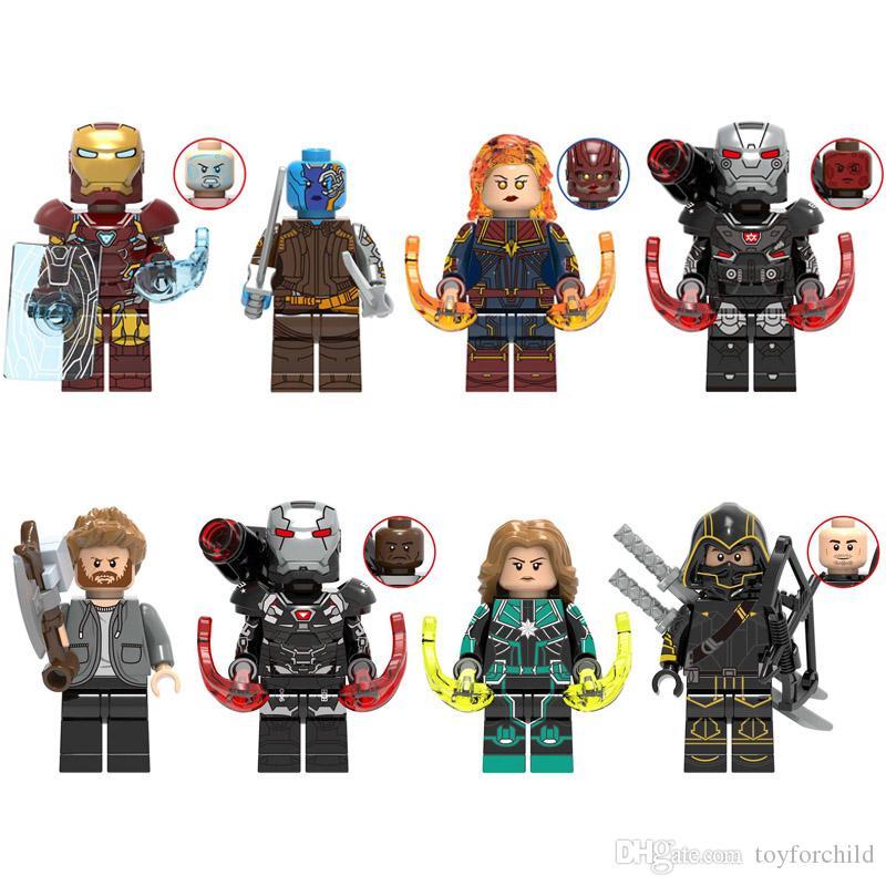 Avengers Super Hero Iron Man Nebula Captain Marval War Machine Thor Hawkeye Mini Toy Figure Building Block Toy For Kid Boy Girl