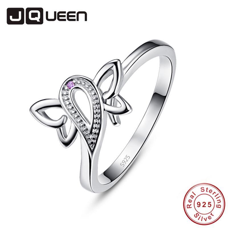 Großhandel echte reine 925 sterling silber butterfly ringe neue stil runde violett hochzeit bands ring zirkonia top qualität geschenk