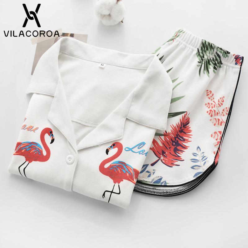 Vilacoroa Revere Yaka Allover Flamingo Baskı Bluz Şort Pijama Set Beyaz Kısa Kollu Sevimli Pijama Düğmesi Ile C19040901