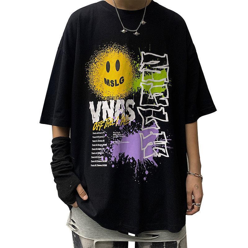 Erkekler Moda Hip Hop Erkek Gevşek Tees Günlük Geometrik Baskı Gömlek Erkek Tişört 2 Renkler Boyut M-3XL için Tasarımcı Tişörtlü