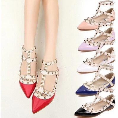 34-43 zapatos de gran tamaño, zapatos de pimienta de América y Europa, los mismos zapatos de punta plana remachadas con correas solo zapato