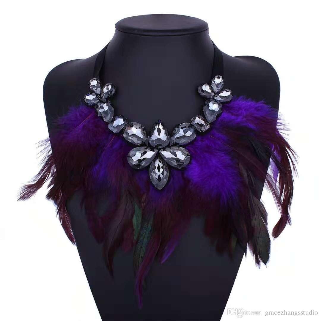 penas coloridas borla gargantilhas mulheres gota de água franjas pluma cristal de diamante colares de luxo designer menina pingentes roxo preto azul