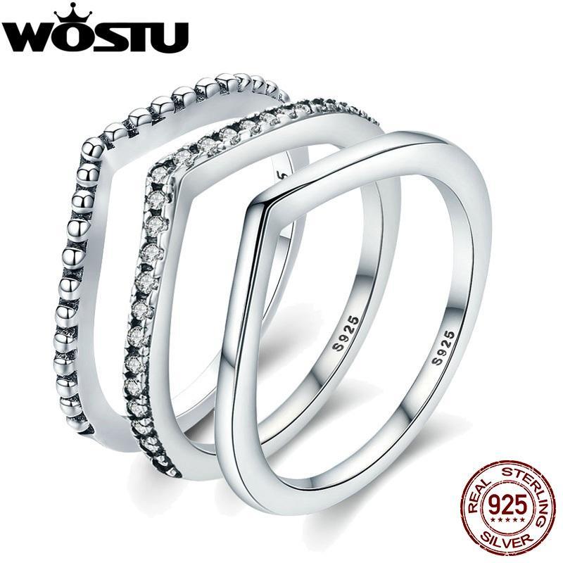 WOSTU 2019 Hot 100% Argent 925 chatoyante souhaits superposable Annulaire pour les femmes bijoux à la mode cadeau original XCH7649