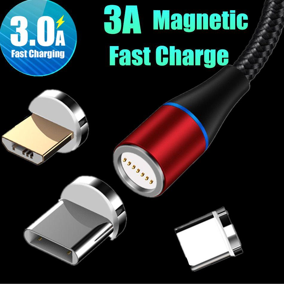 Câble USB magnétique de charge rapide 3A 3 en 1 câble micro Tpye C 1M 2M LED Chargeur tressé en nylon Ligne de données