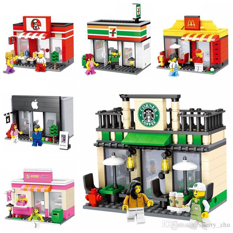 شارع مدينة مصغرة لعبة متجر متجر بيع بالتجزئة نموذج 3D ماكدونالد KFCE أبل القهوة مصغرة لبنات بناء لصبي متوافق