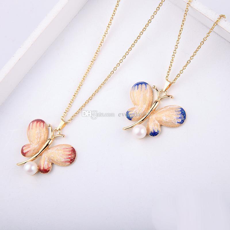 2019 estate nuovo stile dolce carino farfalla simulato pendente della collana di perle collana regolabile colori blu rosso