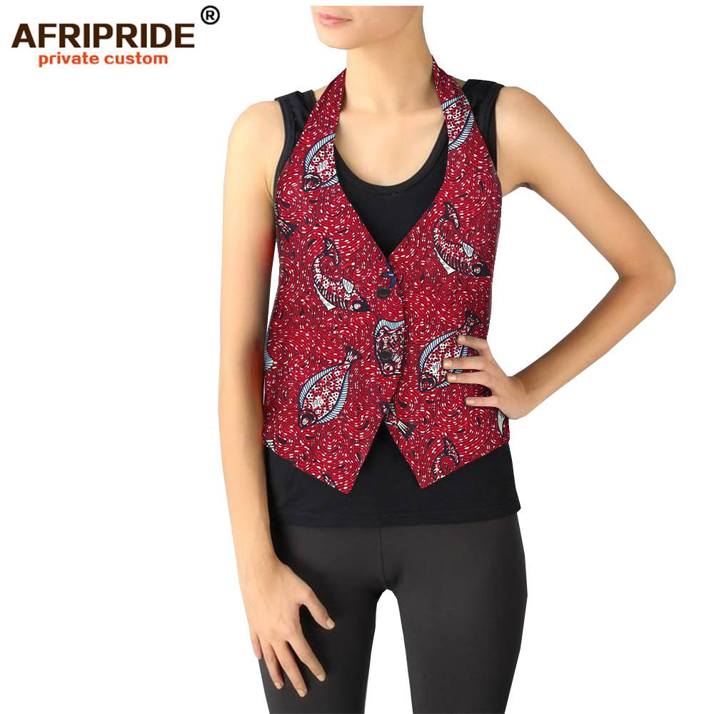 2019 spring african print vest for women AFRIPRIDE tailor made bazin richi single breasted women casual wax cotton vest A1924002