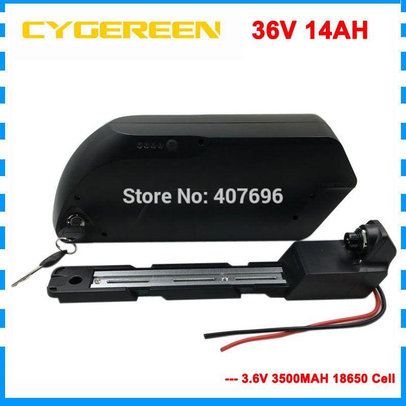 frais de douane tubée vers le bas 36V 14Ah batterie 1000W batterie lithium 36V ebike avec port USB Utilisez cellule 3500mAh 35E 42V 2A Chargeur
