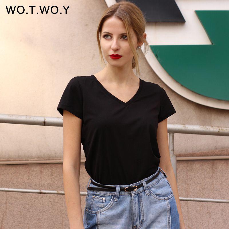 Shirt Simple T Donne pianura di alta qualità con scollo a V 15 Cotton Candy colori di base T-shirt per le donne manica corta Top Femminili 077 CY200512