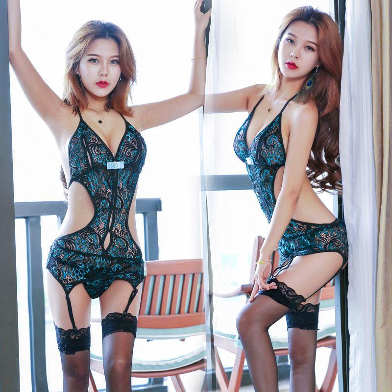 Sexy Lace Set Pyjamas Set Cheongsam aushöhlen siehe durch Unterwäsche lingeries Frau G String T Zurück Frauk 410014