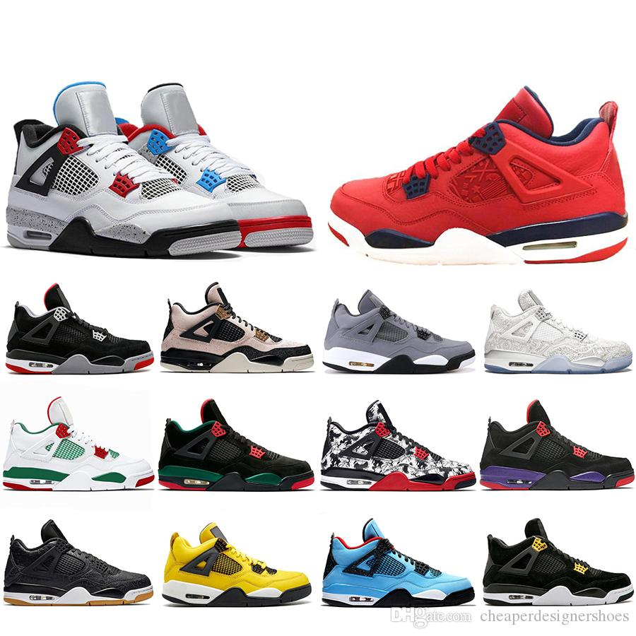 Hot Sale FIBA Laser What The 4 Cool Grey Basketball Shoes 4s Bred White Pizzeria Travis Scotts Raptors Mens Trainers Designer Sneakers