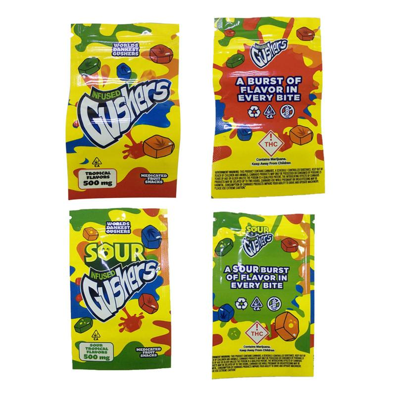 Sour Gushers Exotic Mylar Bag Infused Smellproof Dustproof 500mg Medibles Edibles Zipper Pouch for Tobacco Dry Herb Flower Retail